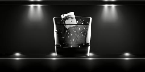 Dark Stylish luxury background with shot of whiskey