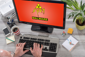 Malware concept on a computer