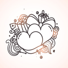Doodle style hearts for Valentine's Day celebration.