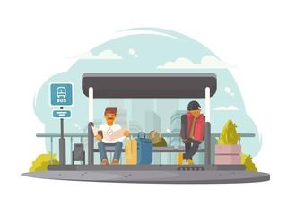 Passengers at bus stop