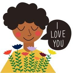 Bright Valentine's day card in cartoon style.