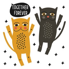 Cute cartoon colored cats. Valentine day. Vector.