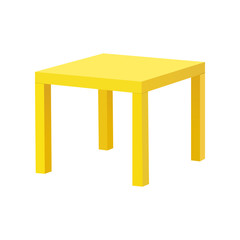 Yellow table isolated on white background. Vector illustration