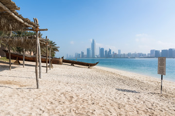View to Abu Dhabi skyline from the beach, United Arab Emirates