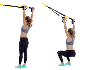 Suspension cable overhead squat