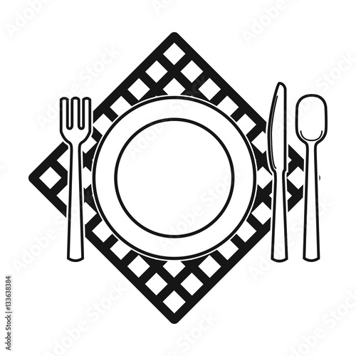 quotpicnic served table icon in black style isolated on white