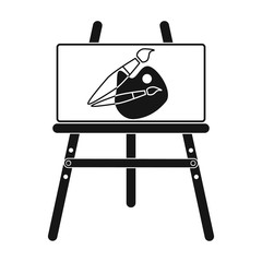 Easel with picture icon in black style isolated on white background. Picnic symbol stock vector illustration.