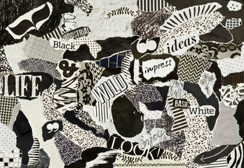 Creative Atmosphere art mood board collage sheet in color idea black and white made of teared magazines and printed matter paper with signs and textures