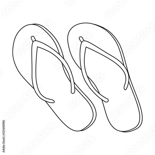 4fa11f2702cc Green flip-flops icon in outline style isolated on white background. Brazil  country symbol stock vector illustration.