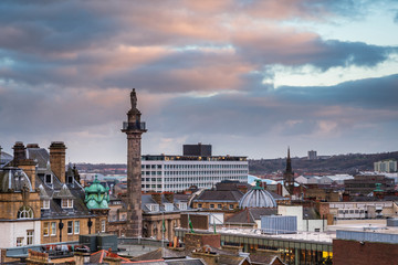 Grey's Monument in Newcastle Skyline, at the city centre, towering above the rooftops, looking south