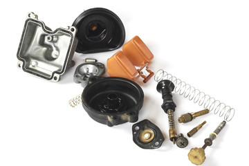 Old carburetor of motorcycle part disassembly.