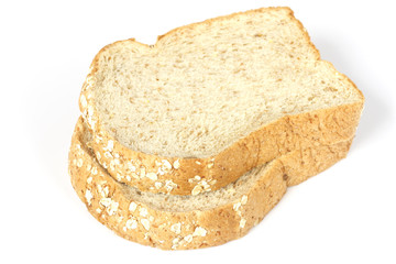 whole wheat bread slices isolated on white background.