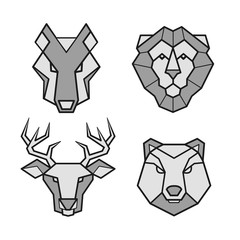 Wild animals geometric head vector icons set