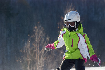 The young mountain skier