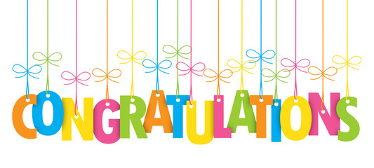 CONGRATULATIONS Colourful Suspended Letters Banner Card