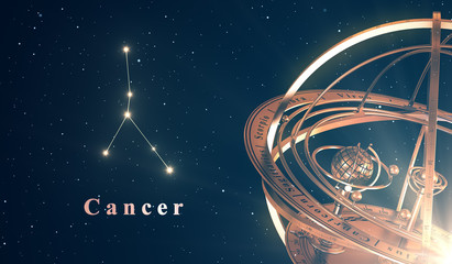 Zodiac Constellation Cancer And Armillary Sphere Over Blue Background