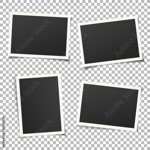 Wall mural Collection of vintage photo frames. Old photo frame with transparent shadow on background. Vector illustration for your photos. Decorative vector template can be use for pictures or memories.