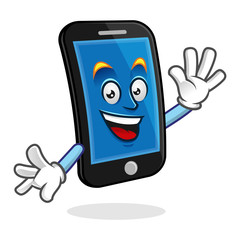 say hello smartphone character, vector of cellphone mascot, mobile phone cartoon