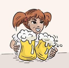 Vrouw met twee pullen bier