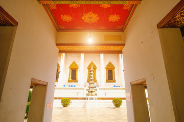 Traditional and architecture Buddhist Church at  Wat Suthat temple in Bangkok, Thailand.
