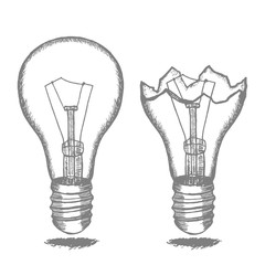 Lamp Bulb Hand Draw Sketch. Vector