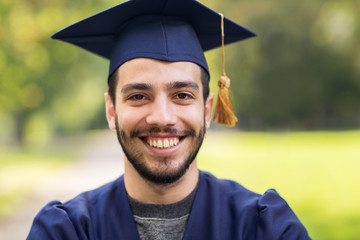 close up of student or bachelor in mortar board