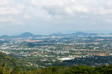 View city from golden Buddha Phuket in Thailand
