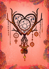 Colored Heart shaped dream catcher with feathers