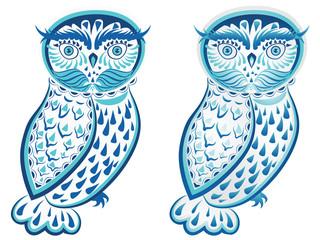 Blue Ornamental Owl