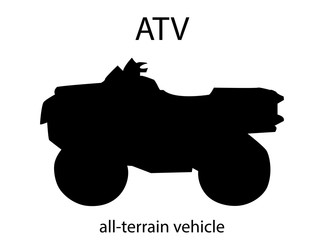 Silhouette of ATV. Vector isolated object. Design element.