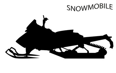Silhouette of a snowmobile. Vector isolated object. Design element.