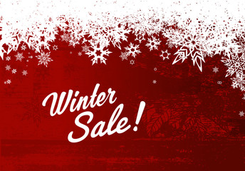 Winter sale illustration template with red background and white