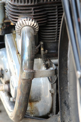 Exhaust pipe of the classic motorcycle.