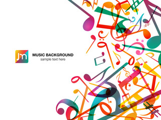 Colorful Music notes. Vector Illustration Abstract Background.