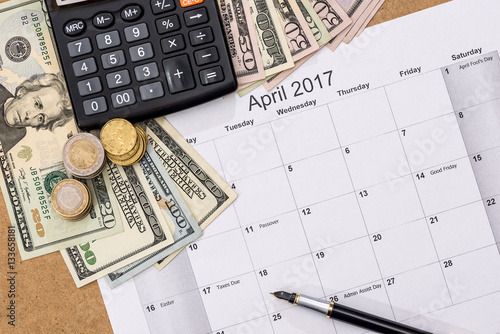 Calendar With Tax Due Date And Us Money Pen Calculator April 2017