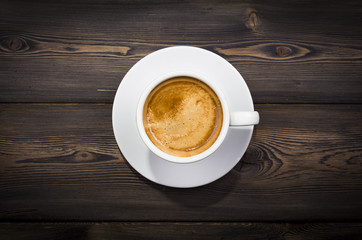 Overhead view of a freshly brewed mug of coffee