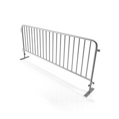Steel temporary fence on white. 3D illustration