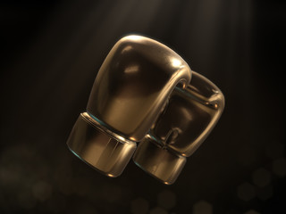 Golden boxing gloves with ray of light and dark background.3D rendering
