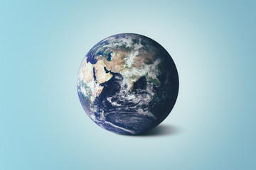 Beautiful Earth on Blue Background - World Environment Day concept - Elements of this image furnished by NASA.