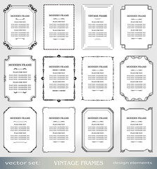 Vector Vintage frames and borders set, Victorian book covers