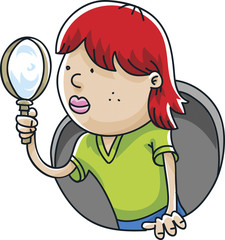 A cartoon girl with a magnifying glass examining and investigating.