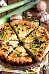 quiche with mushrooms and leek
