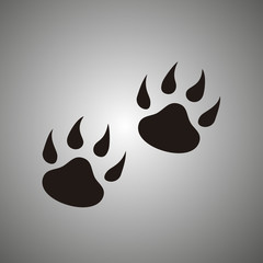 paw print. Animal foot step vector icon. Tiger footprint