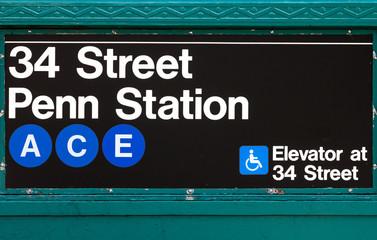 New York City Subway Sign Penn Station 34th Street