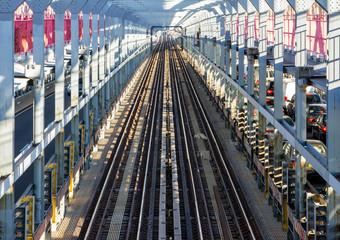 Subway Tracks Across the Williamsburg Bridge in New York City