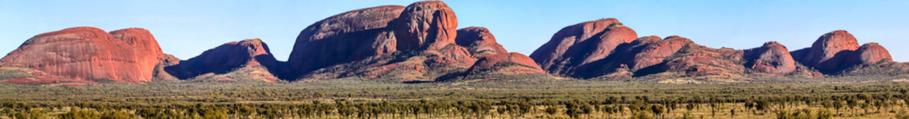 Panorama view rock formations in the Red Centre, Australia