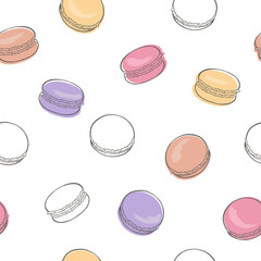 Macaroon graphic color sketch seamless pattern illustration vector