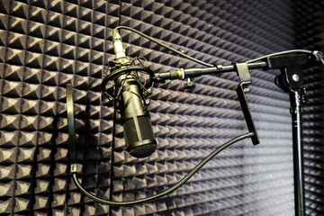 the microphone in the Studio for professional recording