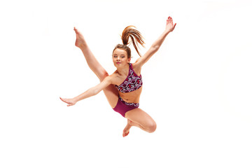 The teenager girl doing gymnastics exercises isolated on white background