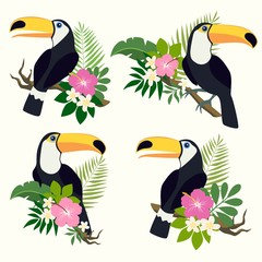 Vector set of toucan birds on tropical branches with leaves and flowers. Very bright colorful cute cartoon  design element